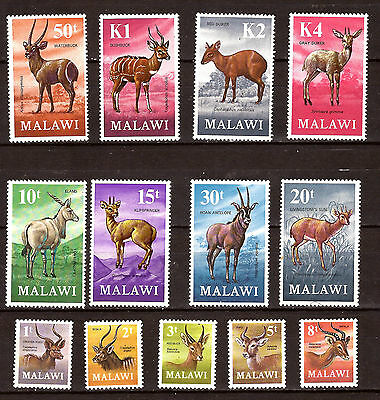 MALAWI timbres neufs 1971Serie complete N°148-160 Les ruminants sauvages 297T5