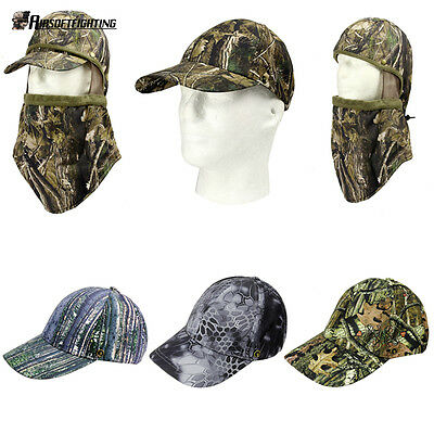 Hunting Fishing Baseball Hat Cap Camouflage with Face Mask Camo Sunscreen Hat