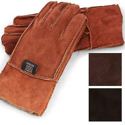 Originals Ugg Australia Sheepskin Suede Gloves Tan Chocolate Black Mens Leather
