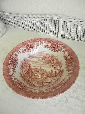English Red Transferware Large Serving Bowl~Cottage Scene~made in England