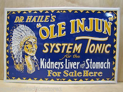 "Embossed Tin Dr Haile's ""Ole Injun"" System Tonic Sign quack medicine advertising"