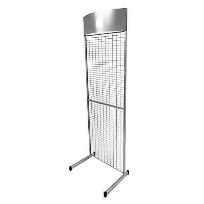 General Purpose Exhibition POS Mesh Panel Shop Retail Stand in Silver (K26/S+)