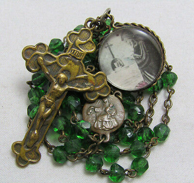 † Antique Double Sided Glass Bubble Medal Pendant & Brass Green Glass Rosary †