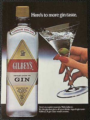 Vintage 1983 Gilbey's London Dry Gin Magazine Ad Print-Here's to more gin taste