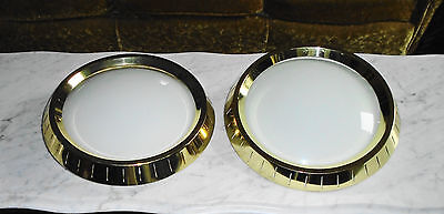 Set of 2 Vintage 12 3/4inch Brass Atomic Dome Ceiling Light Covers, Hook Mount