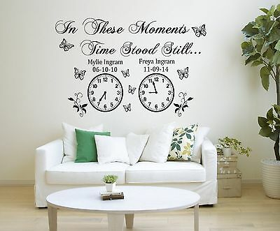 Wall Stickers custom colour name date time stood still vinyl decal decor Nursery