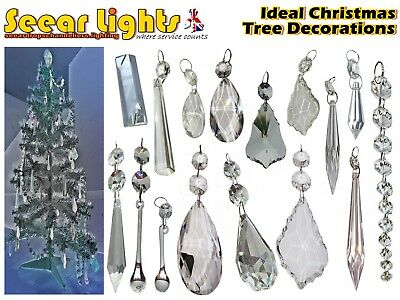 Cut Glass Crystals Droplets Chandelier Christmas Tree Prisms Drops Decorations