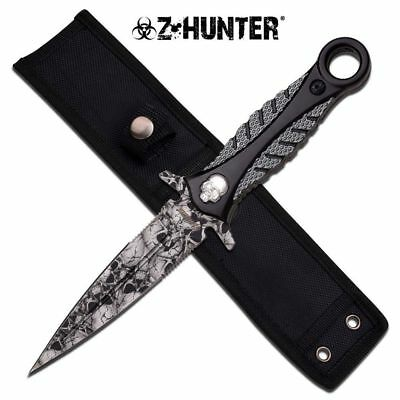 NEW Z-Hunter Zombie Grey Skull Dagger Double-sided Knife Tactical Defense Blade