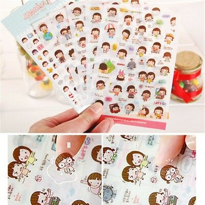 Cute Diary DIY Decoration Scrapbooking Stickers Momoi Girl 6 Sheets CA