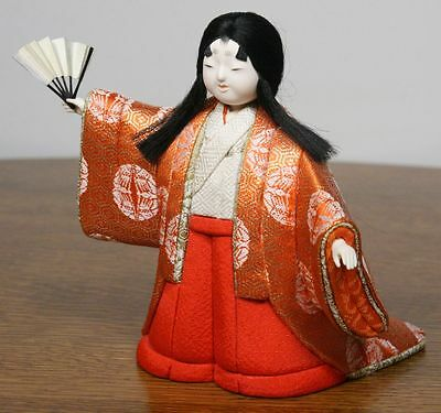 Vintage Japanese Girl Doll in Kimono. Fan Dance. Gofun Face. High Quality