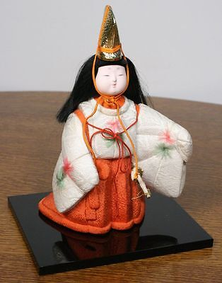 Vintage Japanese Girl Doll in Kimono. Gold Color Hat & Sword. High Quality