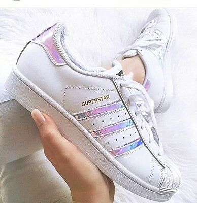 Adidas Superstar J White Hologram Iridescent GS AQ6278 Girls