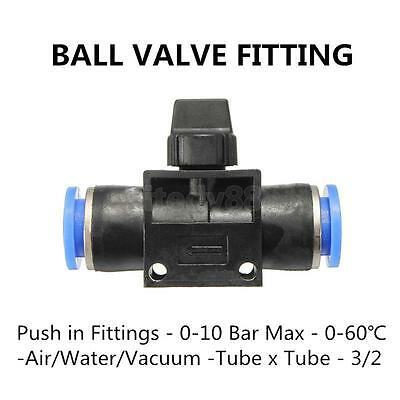 Pneumatic Ball Valve Connector Push In Fitting Air/Water Hose Tube 8mm