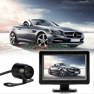 """Night Vision Reverse Camera and 4.3"""" LCD Monitor Car Rear View Kit for Bus Truck"""