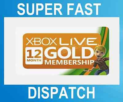 Microsoft 12 Month Xbox One, 360 Live Gold Subscription - Same Day Dispatch