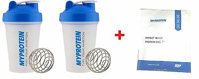 2 Pack MyProtein Shaker Bottle Mini - Shakers + 25g Impact Whey Protein Powder