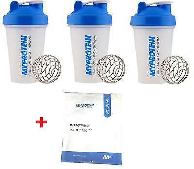 3 Pack MyProtein Shaker Bottle Mini - Shakers + 25g Impact Whey Protein Powder