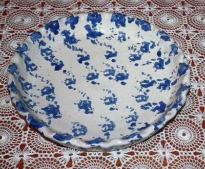 Bybee Pottery Pie Plate Blue Spongeware Design Fluted Edge American Made Pottery