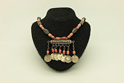 Antique Original Silver Coral Mixed  Coral Decorated Amazing Ottoman Necklase