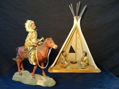 Collectors Big Americas Chief On Horse & 2 Indian Chief In Teepee Ornament