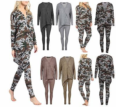 New Womens Camouflage Asymmetric Loungewear Lounge Jogging Set Tracksuit Jogger