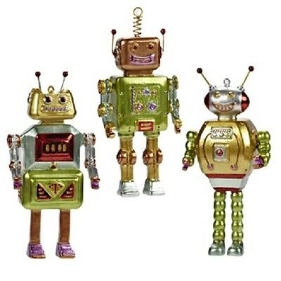 Coloured Robot Whimsical Ornament Figurines - Resin - Set of Three SALE