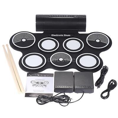 Portable Foldable Silicone Electronic Drum Pad Kit Digital MIDI Roll-up DC B4V0
