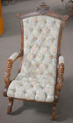 Antique Victorian Walnut Platform Rocker John Jelliff with Carved Faces