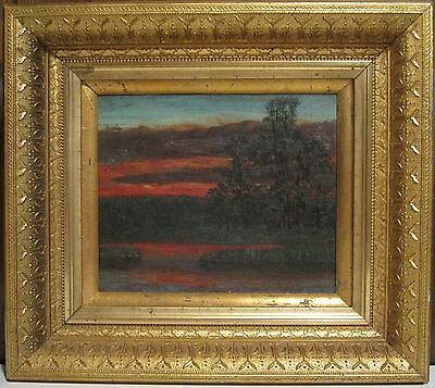 Antique Victorian American Tonalist Oil On Board Painting Finger Lakes Region Ny