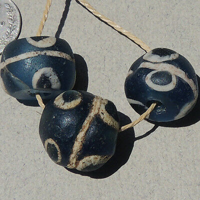 3 ancient islamic roman blue glass eye beads with cane inserts mali #33