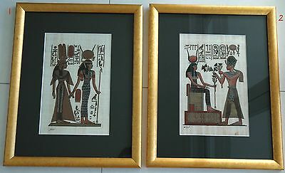 2 framed papyrus artworks - depicting Egyptian marriage