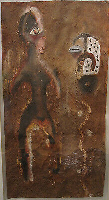 Vintage African Abstract Mixed Media Painting Tribal Art Figural Mask Ritual