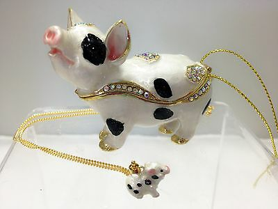 Black and White Pig Enamelled Treasures Trinket Box with Necklace