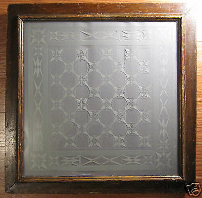 ANTIQUE 19th CENTURY AMERICAN FOLK ART ETCHED GLASS ALLEGHENY CTY PA GERMAN WOW