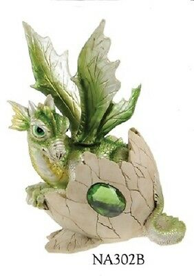 Green Baby Dragon in Egg Fantasy Resin Figurine  - ZEM