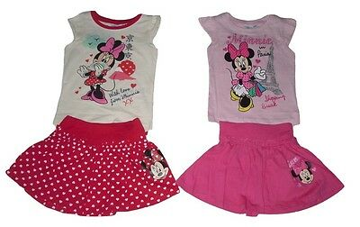 Girls 2 Piece Set Outfit Skirt & Top Disney Minnie Mouse 1 2 3 4 5 6 7 & 8 Years