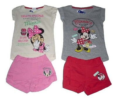 Girls 2 Piece Set Outfit Shorts & T-Shirt Disney Minnie Mouse 1-8 Years