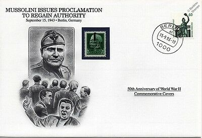 WWII 1943 MUSSOLINI Proclaims Authority in Italy Stamp Cover (Danbury Mint)