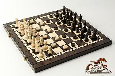 LARGE 3 in 1:TOURNAMENT No.4 WOODEN CHESS SET + BACKGAMMON SET & DRAUGHTS! 40cm