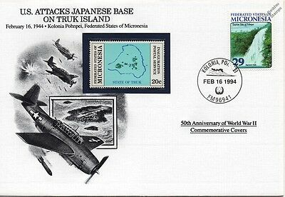WWII 1944 US Attacks Japanese Base on Truk Island Stamp Cover (Danbury Mint)