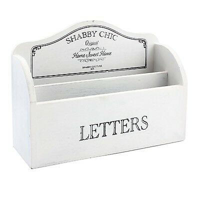 White Shabby Chic Vintage Style Wooden Letter Rack Holder Storage Organiser Box