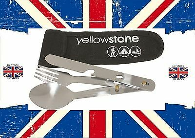 YELLOWSTONE 3pc CUTLERY SET WITH BOTTLE OPENER & NYLON POUCH CAMPING FREE POST!!