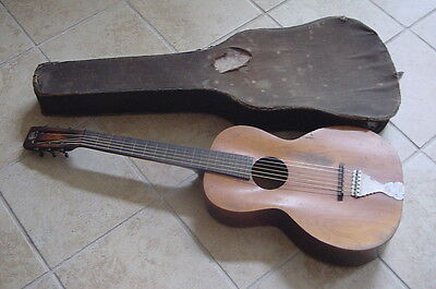 Antique Regal Guitar C1920 With Old Case Slider Blues Guitar Parlor Guitar