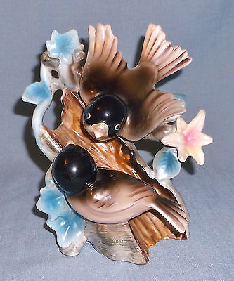 Vintage Enesco Porcelain Double Robin Bird Figurine on Stump w/ Flowers
