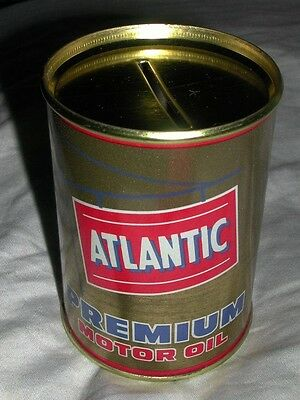 Old Vintage Atlantic Premium Motor Oil Coin Tin Bank