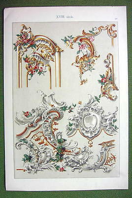 BAROQUE Painted Plaster Work Boucher Bruchsal Castle - 1880s Color Litho Print