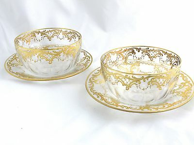 Bohemian MOSER Antique Glass Crystal Finger Bowls with Underplates - Stunning!
