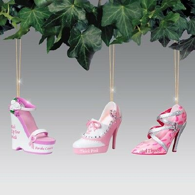 Breast Cancer Awareness Set of 3 Pink Shoe Ornaments Issue Two Bradford Exchange
