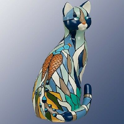 Peacock Cat Purr-fect Reflections of Tiffany Figurine Bradford Exchange
