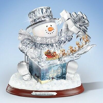 Gift of  the Holidays SNowman with Present Thomas Kinkade Bradford Exchange